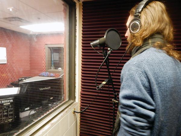 Noah Topliff in the recording studio.