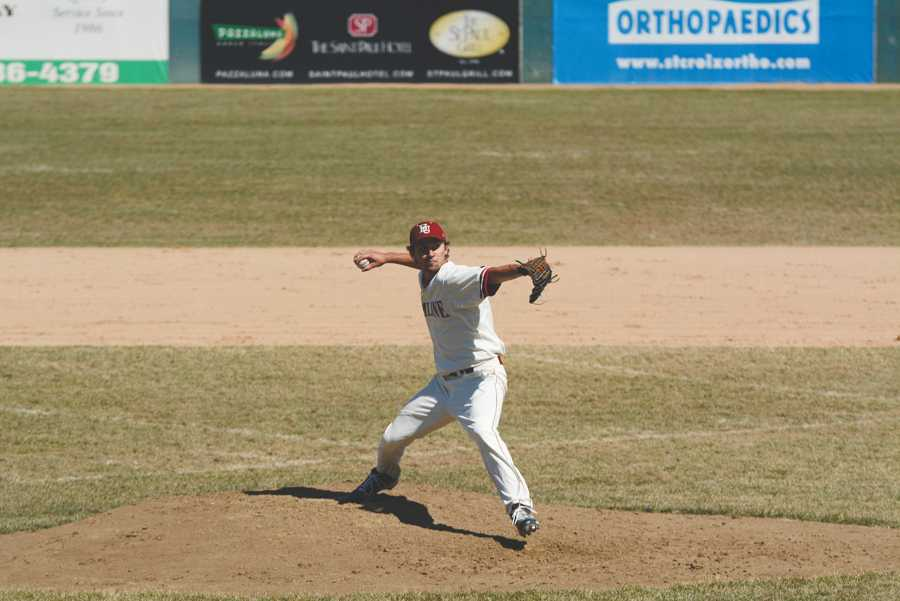 First-year Ryan Gick gets ready to throw a pitch during last Thursday's game against Augsburg, April 10.