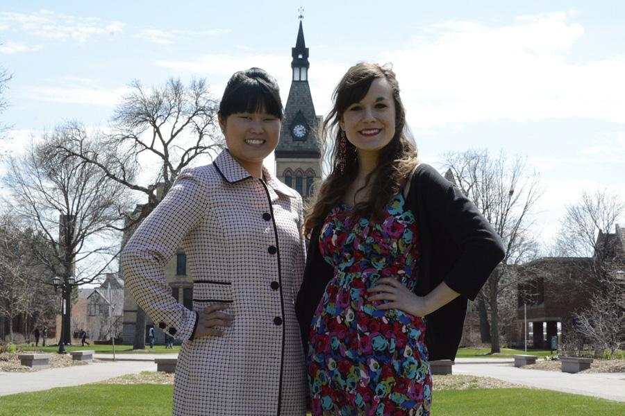 Senior Libby Otto (left) was selected as an alternate for a Fulbright scholarship to teach English in Norway. Senior Jenna Potter (right) will be leaving in August to teach English in Germany.