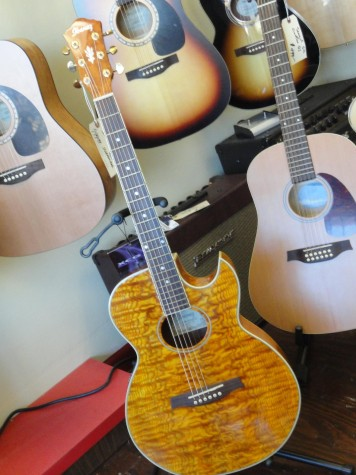 Guitars on display at Vig's Guitar shop at 595 Snelling Avenue