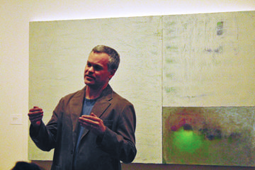 Jason Travers speaks about his work, now being displayed at the Soeffker Gallery in Drew Fine Arts. Pictured here is