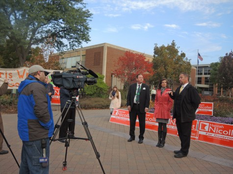 5 Eyewitness News interviews gubernatorial candidates Chris Wright, Hannah Nicollet and Chris Holbrook during a protest on Sunday.