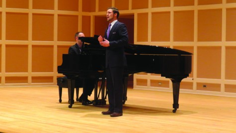 """Baritone Charles Eaton auditions with """"O vin, dissipe la tristesse"""" from Thomas' """"Hamlet"""" on the Sundin stage."""