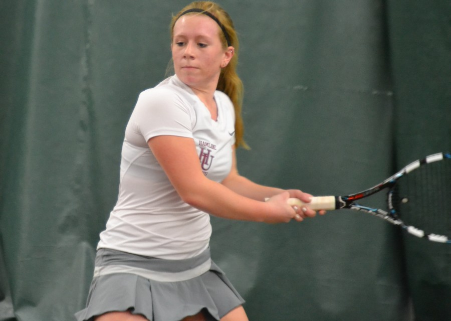 Sophomore Jordan Danielson last year at Baseline Tennis Center at the University of Minnesota. She will return to action on Friday, March 20, against St. Olaf.
