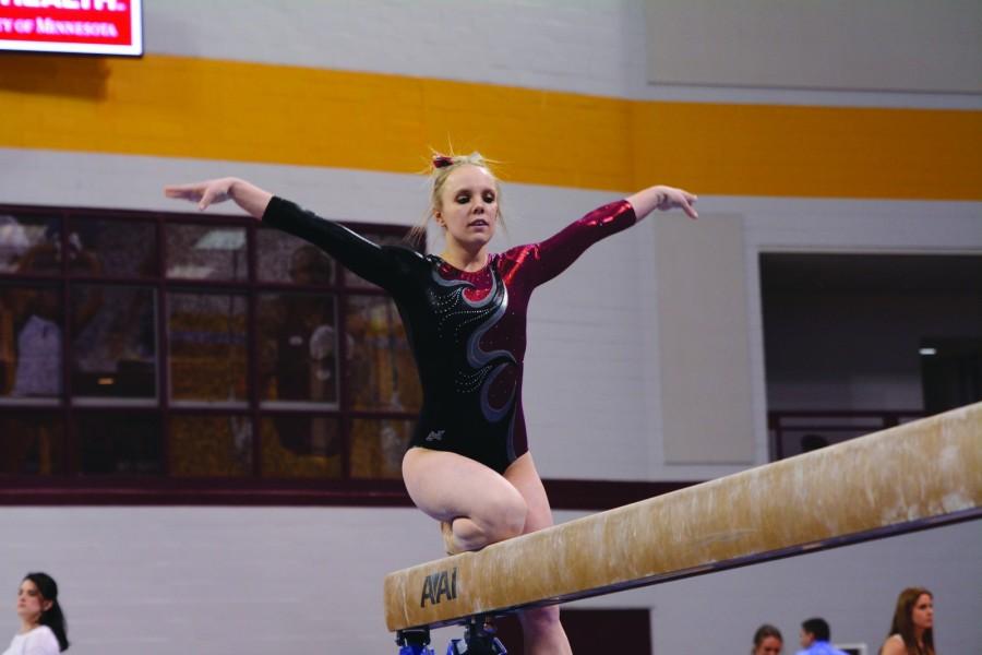 Tasha Golding on the Balance Beam at the 2015 Best of Minnesota meet on Feb. 22.
