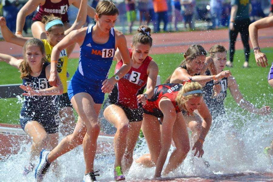 Senior Andrea Haus running in the Steeplechase at the MIAC Outdoor Championships on May 9, 2015.