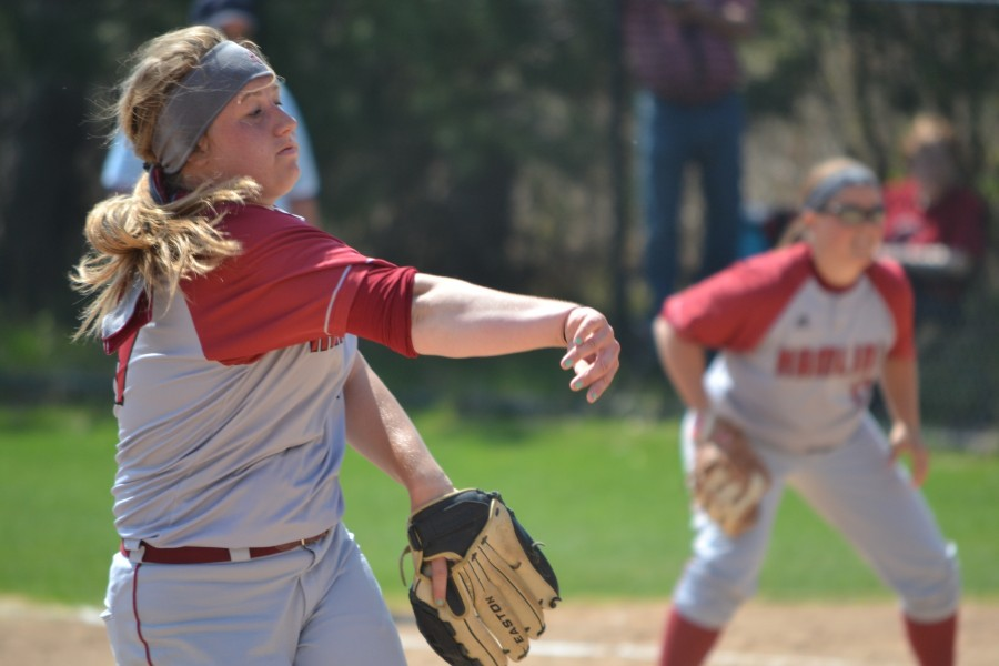 Delivering the pitch is sophomore pitcher Casey Anderson on May 2, 2015.