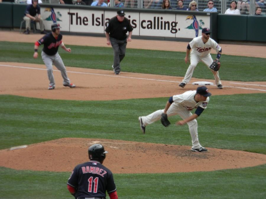 Caleb Thielbar on the mound pitching for the Minnesota Twins on April 18, 2015.