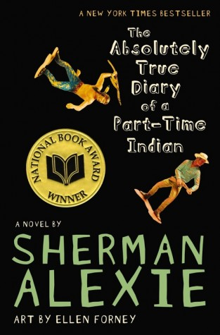 """Book cover for Alexie's 2007 semi-autobiographical young adult novel, """"The Absolutely True Diary of a Part-Time Indian."""" It won the National Book Award in 2007."""