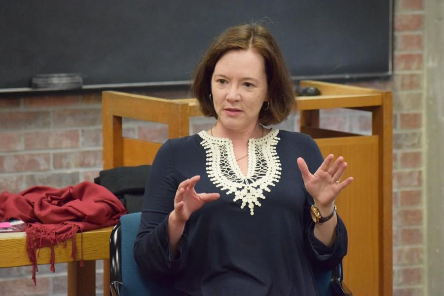 Creative nonfiction writer Joni Tevis at the Runestone interview, answering questions asked by the student editorial board on Thursday, March 10. The interview will be published in Runestone Journal, vol. 2.