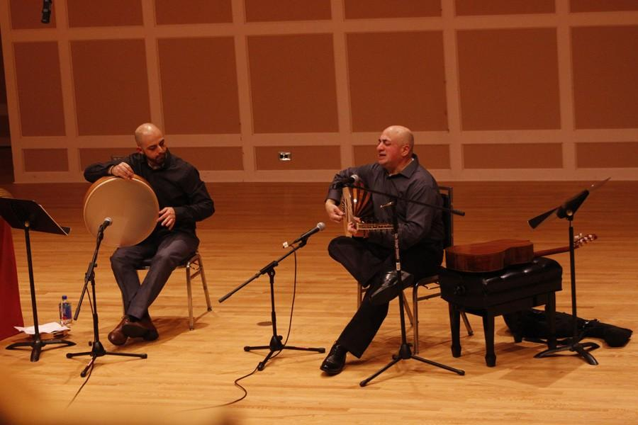 Palestinian composers Issa Boulos (right) and Wanees Zarour (left) play some of Boulos' music for listeners in Sundin Hall.
