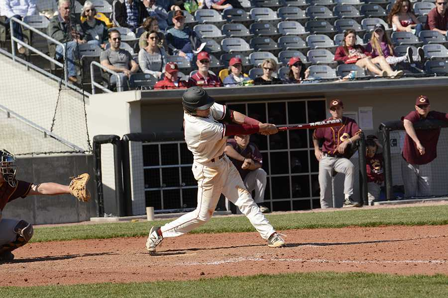 Senior shortstop and former third baseman Tyler Summers at bat in a game earlier this season.