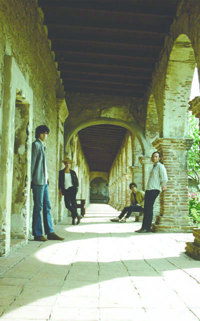 The band members of Allah-Las.  From left to right: Pedrum Siadatian, Matthew Correia, Miles Michaud and Spencer Dunham.