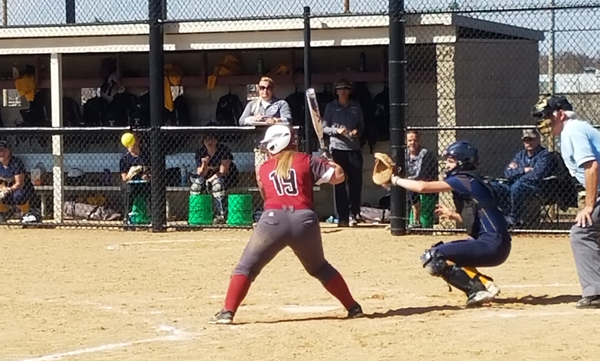 First-year infielder Caitlin Jones watches a pitch go by in Hamline's 6-5 victory over Carleton last Saturday. Jones went 0-2 with a walk in that game.
