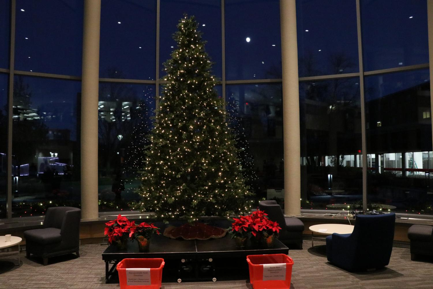 The annual Tree Lighting was held in the Anderson Forum for the first time.