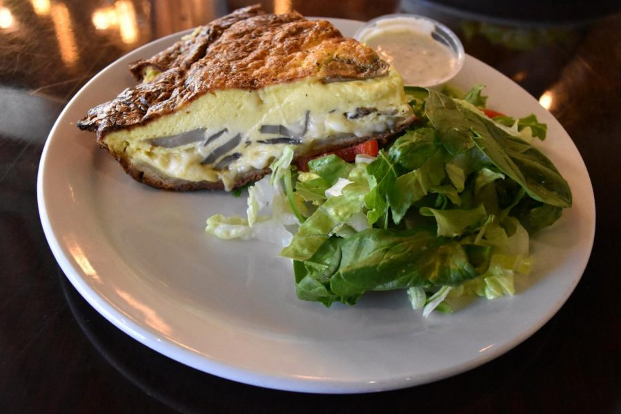 One of Finnish Bistro's quiche many options with mushrooms and swiss.