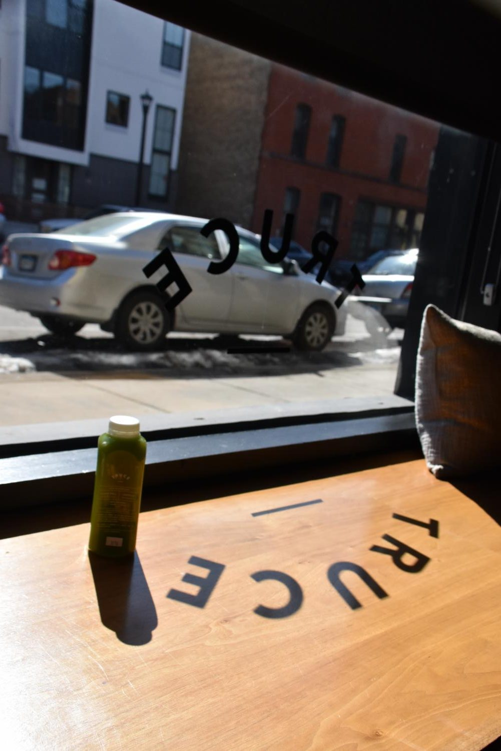 North Loop's location offers Morning Greens juice with sunlight included.