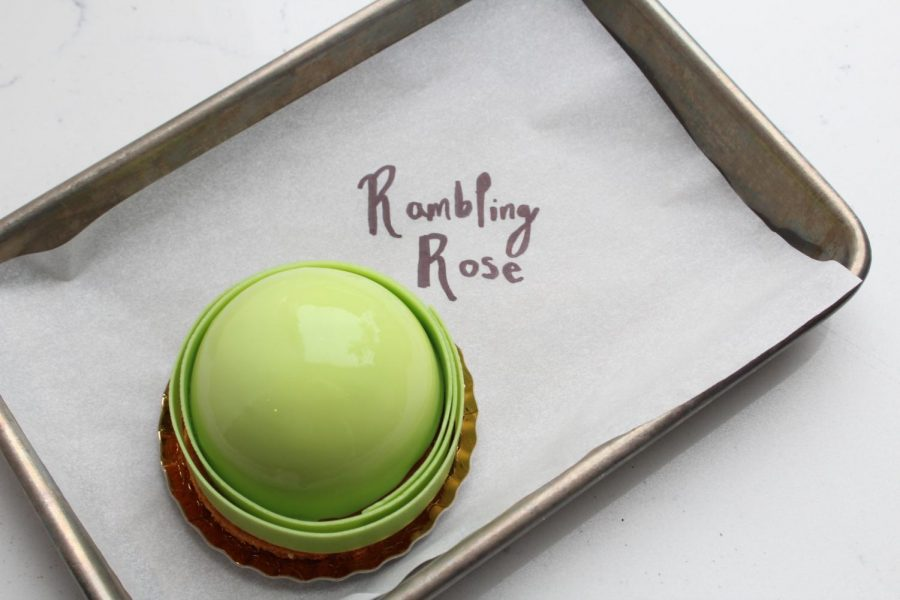 A bright-green lime mousse soufflé with roasted red fruits and sable Breton.