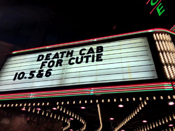 Death Cab for Cuties sign outside of the venue.