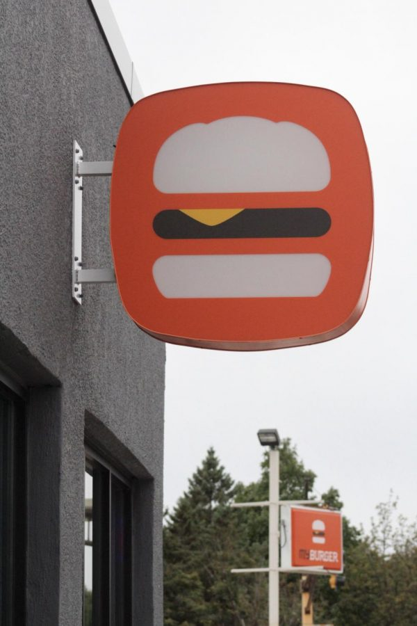 MyBurger signage brightly greets passerbys on Snelling and Grand Avenue.