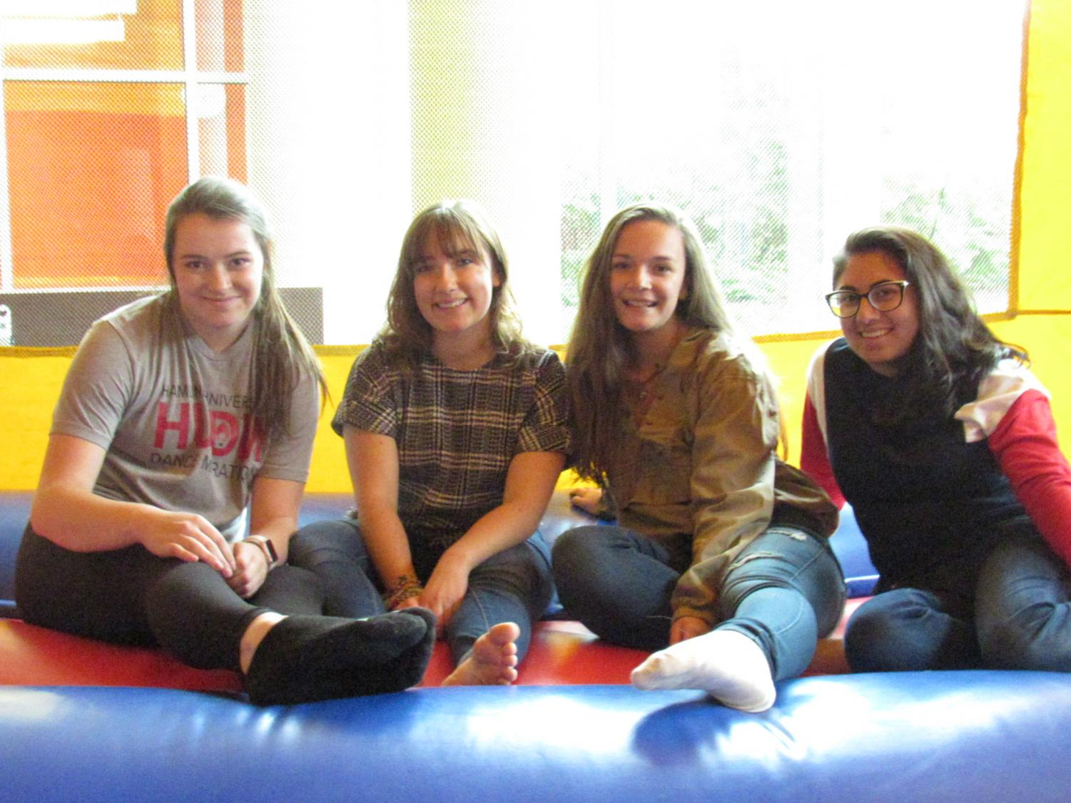 Sophomore Alex Pick, first-years Danielle Franke, Emily Kettering and Nidhi Jariwala, were among the first to jump.