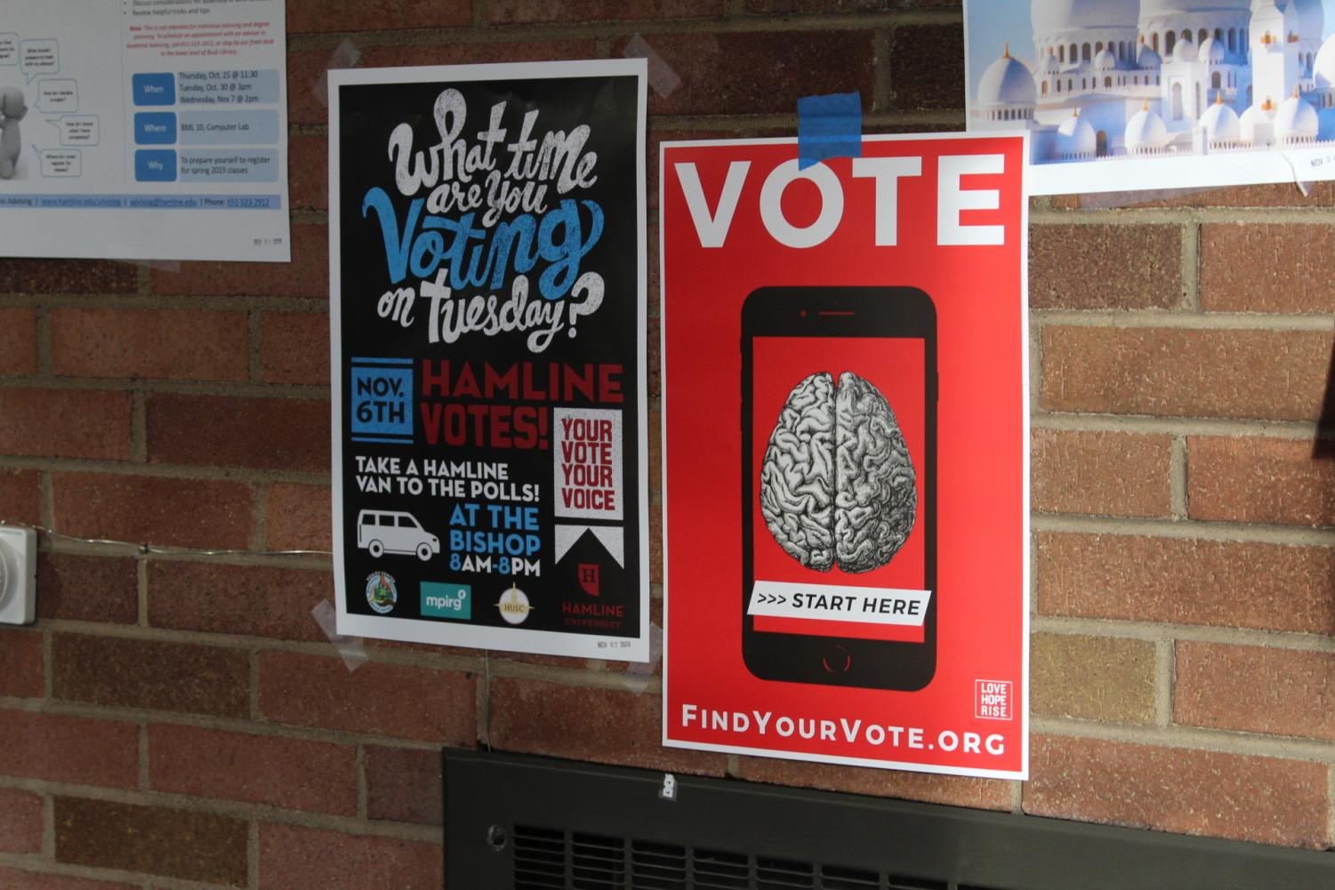 Posters in patriotic colors put up in Drew Science Center.