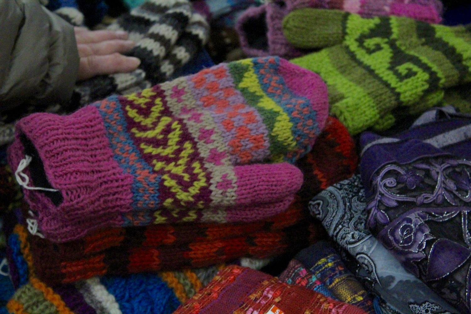 Homemade mittens in a variety of patterns and color were for sale at Saturday's Artisan Festival.