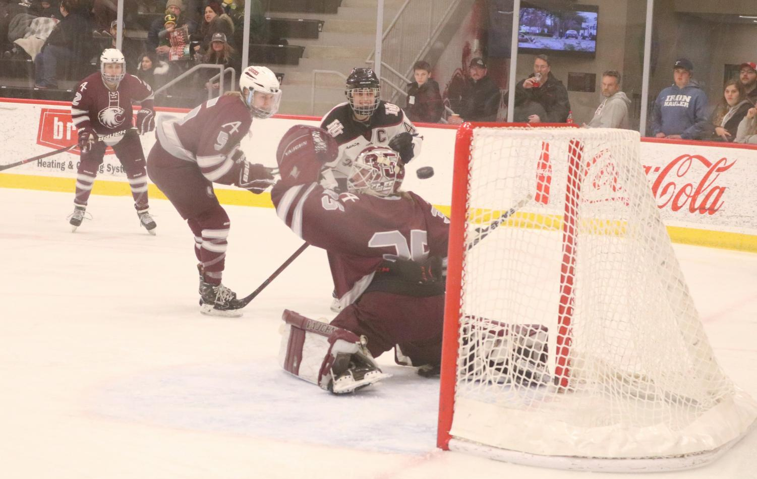 Senior Leah Schwartzman scores during the MIAC playoff game.