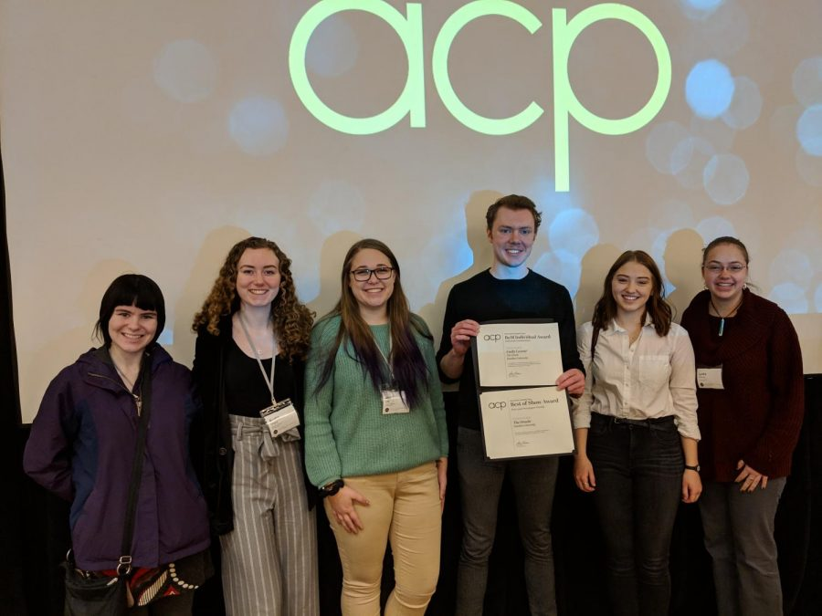 Oracle staff from left Kelly Holm, Audra Grigus, Ally Gall, Karl Bjornerud, Emma Hamilton and Lydia Hansen at the ACP Best of the Midwest conference on Sunday, February 17.