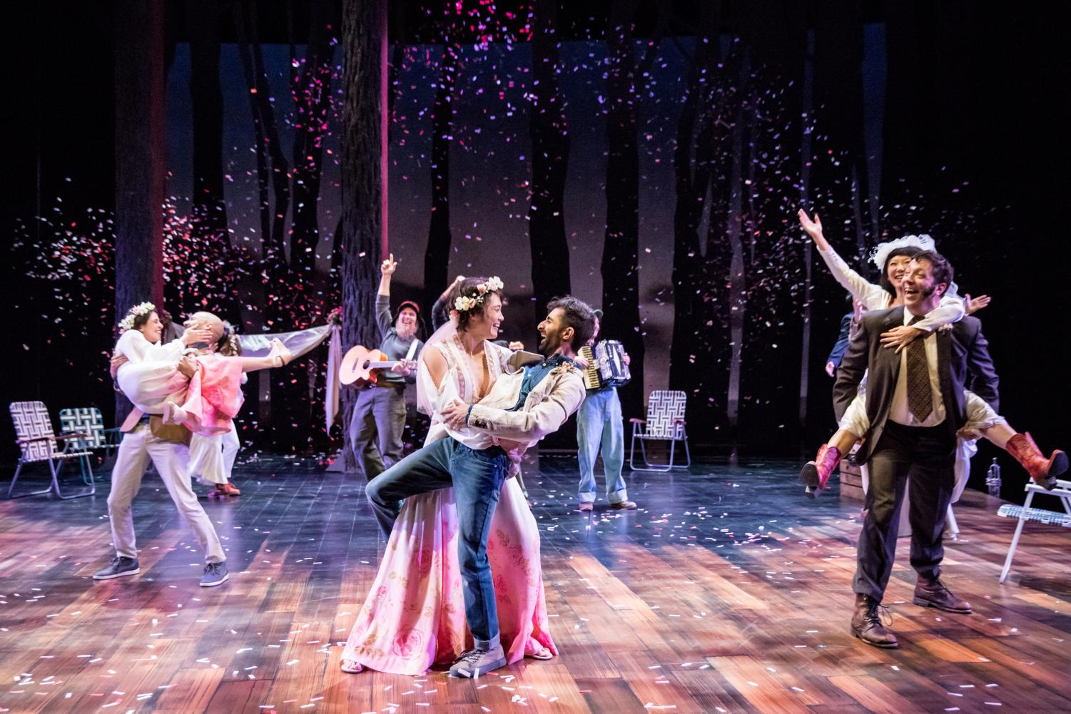 "Confetti sprays over the stage in the final scene of ""As You Like It."""