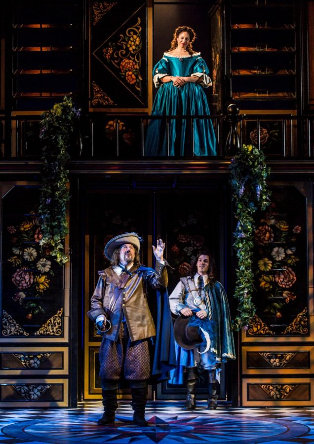 Cyrano de Bergerac (Jay O. Sanders) speaks his love in prose in place of Christian (Robert Lenzi) to the beloved Roxane (Jennie Greenberry).
