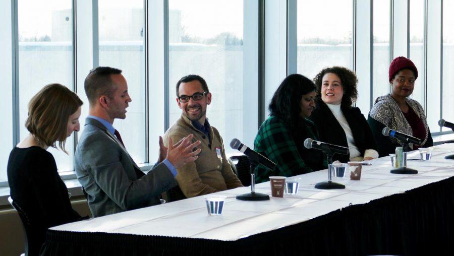 Alumni Julie Savane, Jason Schellack, Peter Elwell, Matrika Bailey, Natalie Self and Junauda Petrus led a discussion on the impact of social justice work.