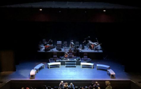 The stage of the O'Shaughnessy theatre at St. Catherine University, set for Parable of the Sower: The Concert Version.