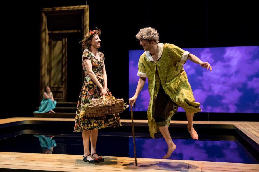 Vertumnus, dressed as an elderly woman and played by Benjamin T. Ismail, attempts to woo Pomona, played by Louise Lamson.