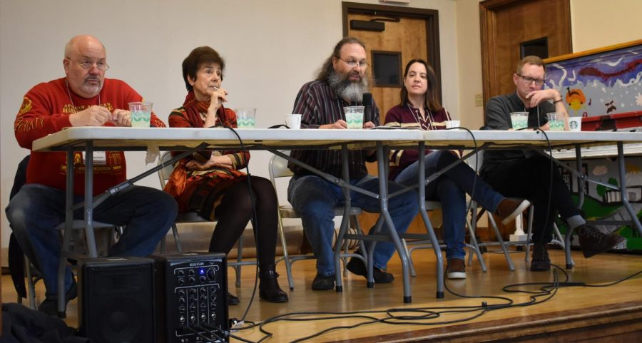 Twin Cities adjunct faculty spoke to an audience at Hamline Public Library on April 27. Pictured from left are Peter Rachleff, Catherine Guisan, David Weiss, Mary Pogatshnik, and Travis Sands.