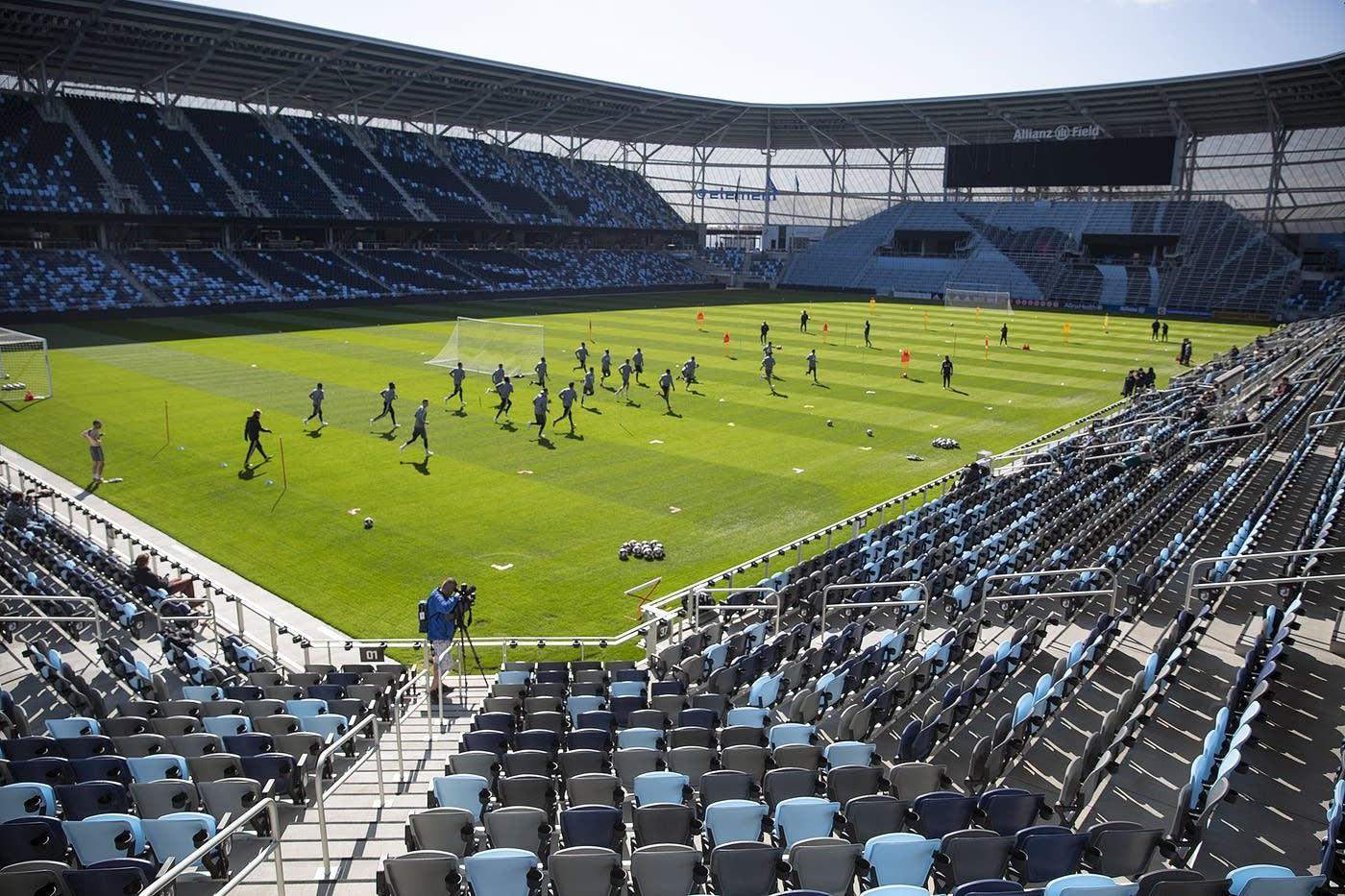 Minnesota United FC players practice at the new Allianz Field stadium.