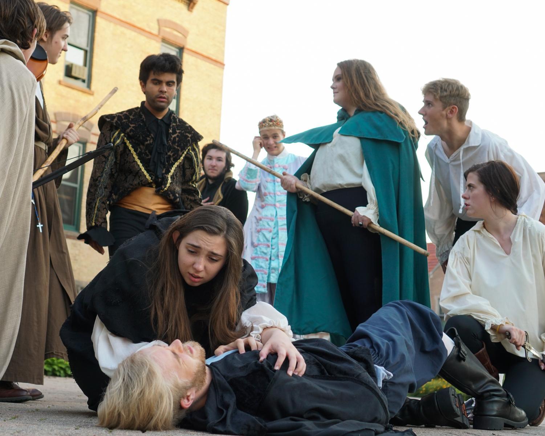 Sophomore Bridget Benson (Robin Hood) and junior Ian Olson (Will Scarlett) star in Meraki Theatre Company's production of