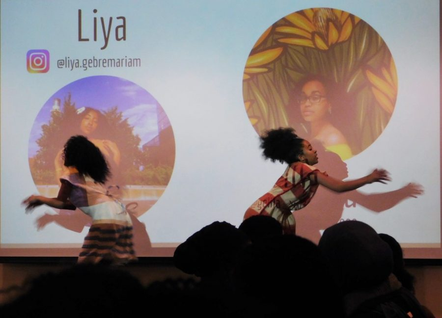 Dancers+Liya+and+Gelila+helped+kick+off+the+first+performances+of+Pamoja+Night.
