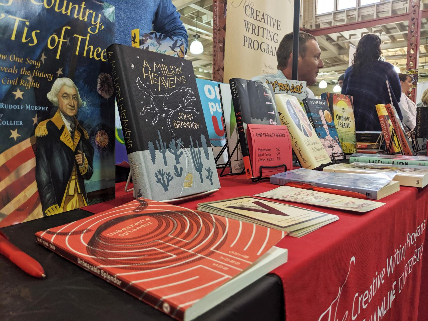Hamline professor and author John Brandon signed books at Hamline's booth during the 2019 Twin Cities Book Festival on Oct. 12.