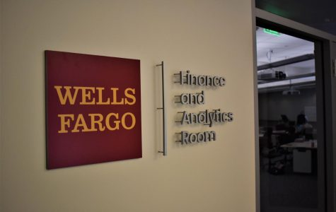 A sign marks the outside wall of the newly remodeled classroom in East Hall.