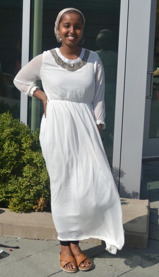 Junior Yasmin Hirsi typically styles herself in long, flowing dresses