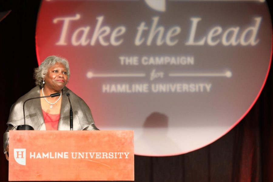 President Fayneese Miller announced the Take The Lead fundraising campaign had already raised $50 million of its $110 million goal at the President's Circle Dinner on Oct. 10, 2019. Fundraising informally began when Miller became president in 2015.
