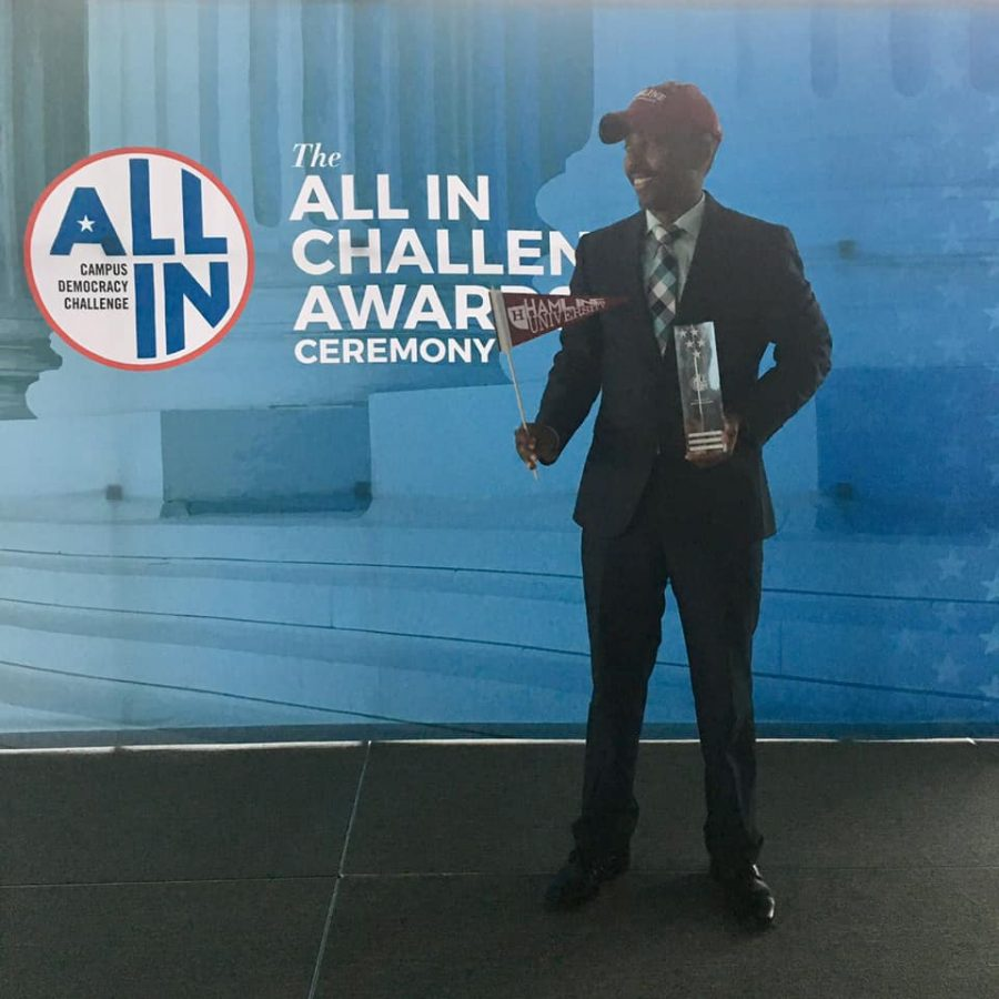 All In photo caption (can be used for either 01 or 02, only post one of these online): Coordinator of Social Justice Initiatives Nur Mood accepted a platinum seal from the ALL IN Campus Democracy Challenge in Washington, D.C. on Nov. 12. 2019.
