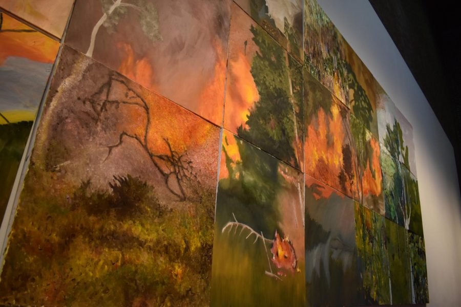 A closer look at the fires among the trees. The mural was constructed to give more public attention to the burning of the Amazon Rainforest, and its significance to the Earth.