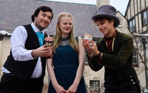Sophomore Will Deery (Rabbit), junior Ellie Dunn (Alice), and first-year Nolan Sherburne (Mad Hatter) starred in Meraki Theater Company's February performance of