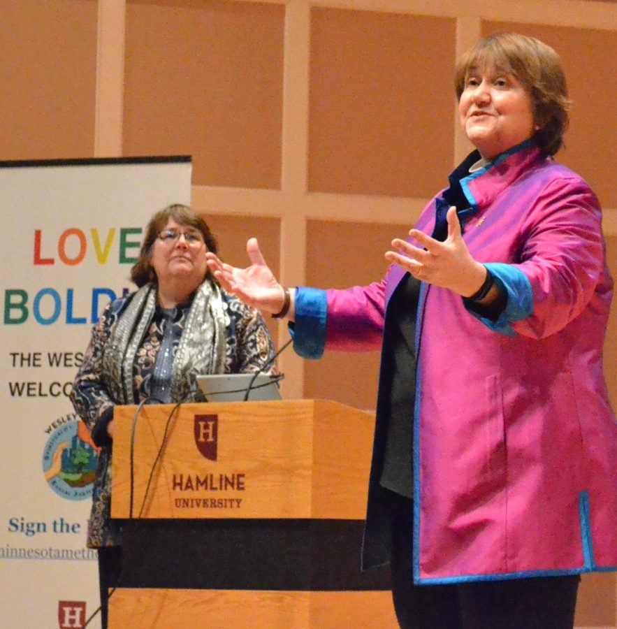 Bishop Karen P. Oliveto addresses the crowd in Sundin Hall during Feb. 25's Mahle Lecture.