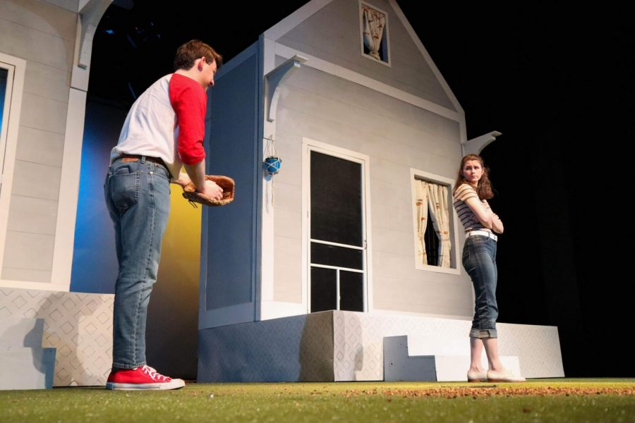 Two suburban kids worried about nuclear strike, Jake (played by '18 graduate Robby Miller) and Deana (played by first-year Clare Foy) argue about what would happen if they were the last two people in the world in Hamline Theatre's production of