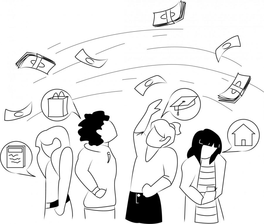 A black and white illustration showing four people standing and watching as dollar bills and symbols representing expenses like utilities, housing, and food circle around them, all out of reach.