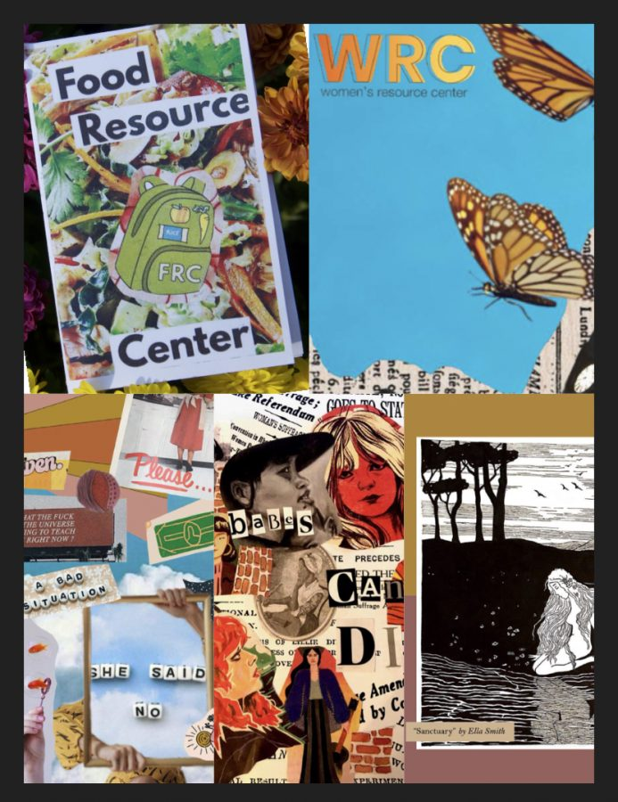 "Various zines and a photo come together to create a collage. Bold colors and different styles of art are used throughout the collage focused on the Womens Recource Center and the Food Resource Center.. Women, photographed and sketched are found in the pieces and various texts with sayings are pasted. Phases that are relevent include, "" she said no, babes can't die, a bad situation."""