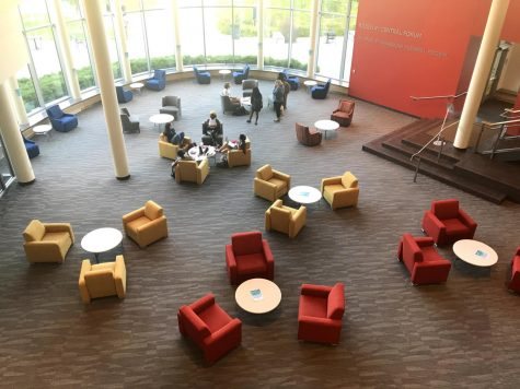 Students gathered in the Anderson center in the now socially distant seating area